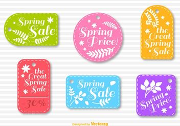 Spring Sale Stitched Badge Vectors - Free vector #150357
