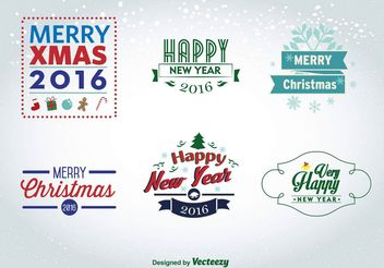 Christmas and New Year 2016 labels - vector gratuit #150467