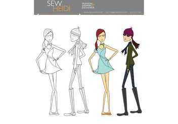 Outfitted Female Fashion Sketch Vectors - Free vector #150517