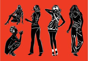 Fashion Models Silhouettes Pack - vector gratuit #150567