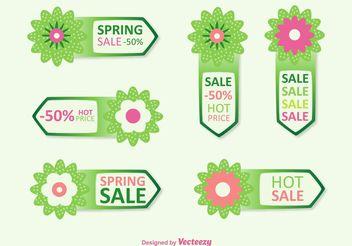 Spring Discount Tag Vectors - бесплатный vector #150647