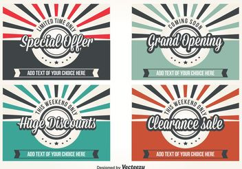 Promotional Retro Style Vector Labels - Free vector #150767