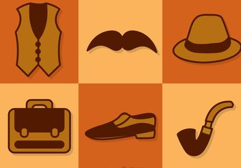 Retro Male Accessories Vectors - Free vector #150787