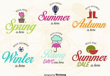 Spring, Summer, Autumn and Winter Label Vectors - Free vector #150797