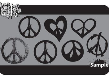 Free Peace Sign Vector Art and Grungy Peace Vector Set - Free vector #151027