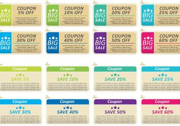 Offers And Promotions Coupon Vectors - Kostenloses vector #151117
