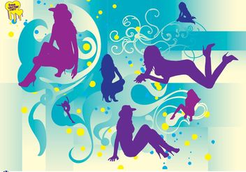 Beautiful Girls Silhouettes - бесплатный vector #151307