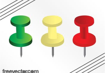 Colorful Push Pins - vector gratuit #152207