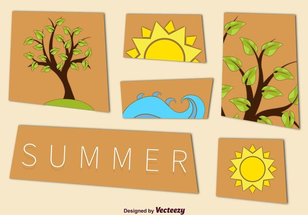 Summer Tree and Beach Graphics - Free vector #152607