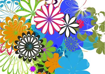 Colorful Flowers Background Art - Free vector #152697