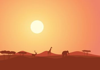 Free African Landscape At Sunset Vector - Free vector #152867