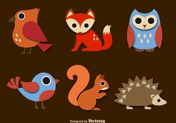 Forest Animals Cartoon Vectors - Free vector #153037
