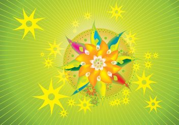 Psychedelic Flowers - Free vector #153057