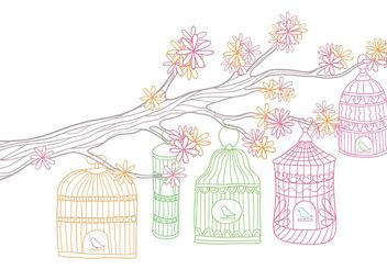 Vintage Bird Cage in Tree Vector - vector #153077 gratis