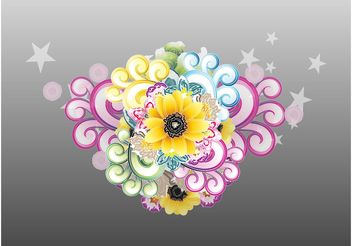 Stars And Flowers Decorations - vector gratuit #153157