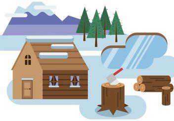 Log Cabin Snowy Landscape Vector - Free vector #153197