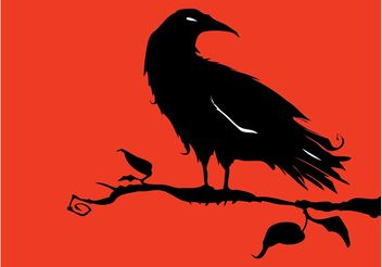 Crow On Tree - Free vector #153227