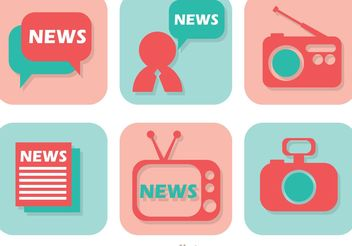News Media Icons Vector - бесплатный vector #153837