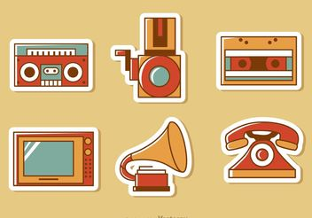 Retro Style Media Vector Pack 1 - Free vector #153877