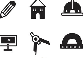 Black Architecture Tools Icons Vector - Free vector #154027