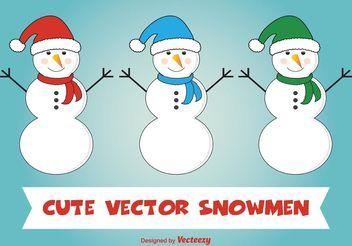 Cute Snowman Vectors - vector gratuit(e) #154417