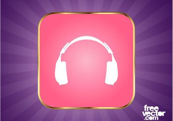 Headphones Button Graphics - бесплатный vector #155407