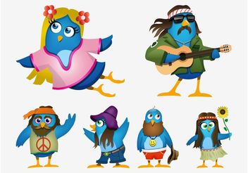 Hippie Cartoon Birds - Free vector #156017