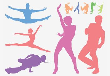 Dancing People Graphics - vector gratuit #156027