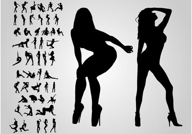 Silhouette Girls - Free vector #156287
