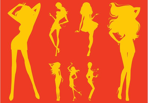 Party Girl Silhouettes - Free vector #156397