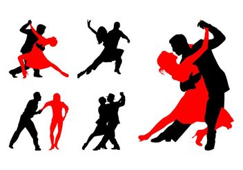 Dancing Couples Silhouettes - Free vector #156437