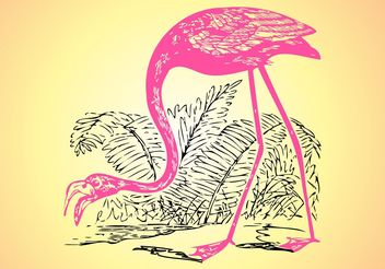 Flamingo Sketch - Free vector #156707