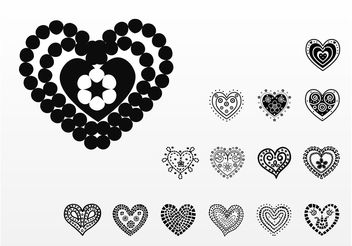 Beautiful Hearts Vectors - vector gratuit #157037