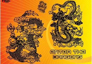 Chinese Dragons - Free vector #157457
