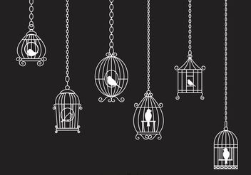 Hanging White Vintage Bird Cage Chain Vector - бесплатный vector #157777
