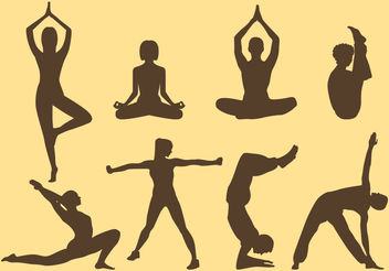Woman And Man Yoga Silhouettes - Free vector #157877