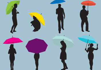 Woman And Man Umbrellas Silhouettes - vector gratuit(e) #157887