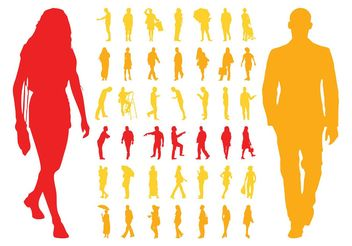Silhouettes Of People - vector gratuit #157977
