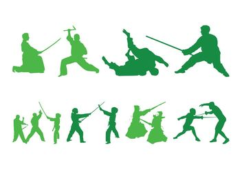Fighting People Silhouettes - vector gratuit #157987