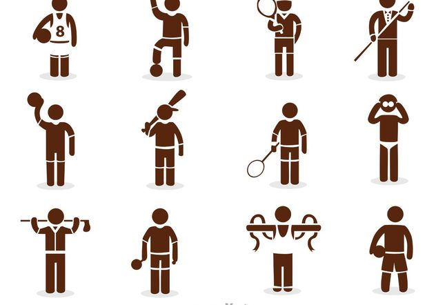 Sport Stick Figure Icons Vector Pack - Free vector #158297