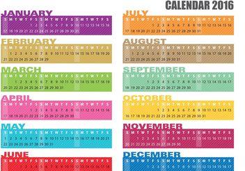 Calendar Banner Vectors 2016 - Free vector #159467