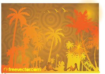 Exotic Beach Vector - Free vector #159507