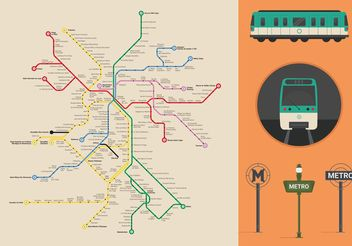 Paris Metro Vector Map - vector gratuit #159667