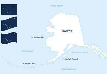 Free Alaska Vector Map And Flags - Free vector #159687