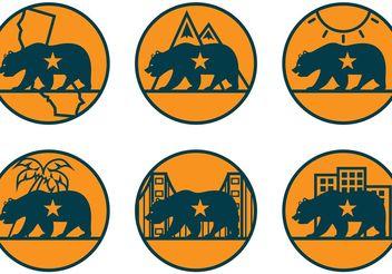 California Bear Vector Icons - Free vector #159927