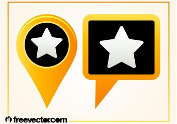 Map Pointers With Star - Free vector #159937