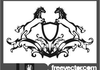 Blazon With Horses - vector gratuit #160027