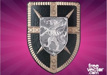 Shield With Dragon - Free vector #160107
