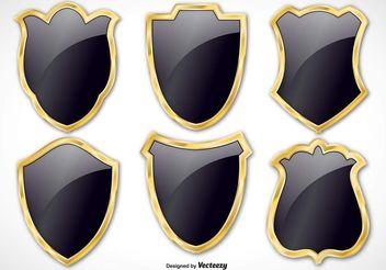 Black and Gold Vector Shield Set - Free vector #160177