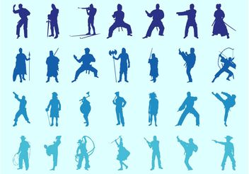 Fighting People Silhouettes Set - vector gratuit #160347
